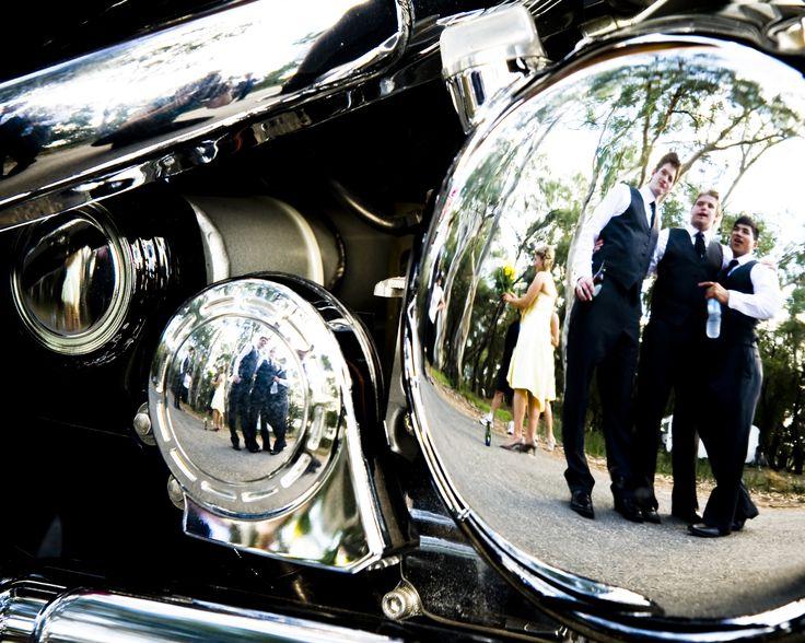 Country Wedding, Bridal party, groomsman, Harley Davidson
