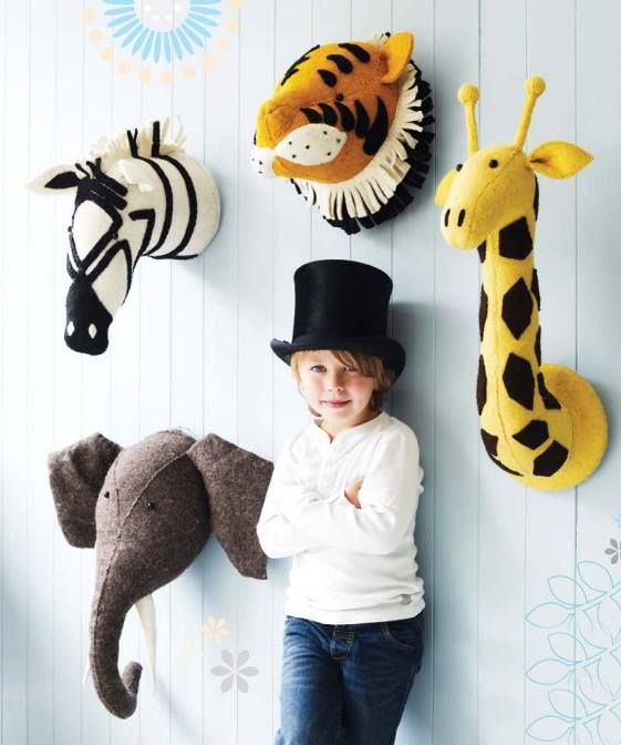 Baby Grand chic, felted animal heads are perfect for your nursery, child's room or playroom. Which one is your favorite?   http://www.babyongrand.com/search-results?keyword=mounted+heads
