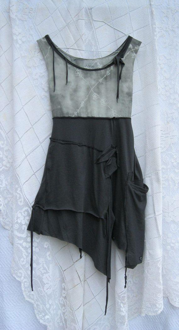 Funky Tattered Summer Tunic / Dress / Sleeveless / Large Extra Large
