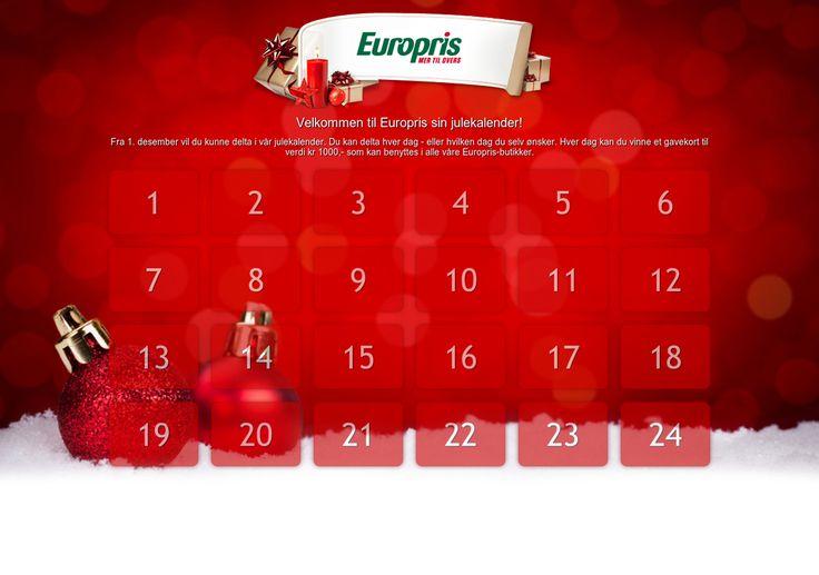 Delta og vinn gavekort til kr 1000,-  Delta på Europris sin julekalender!