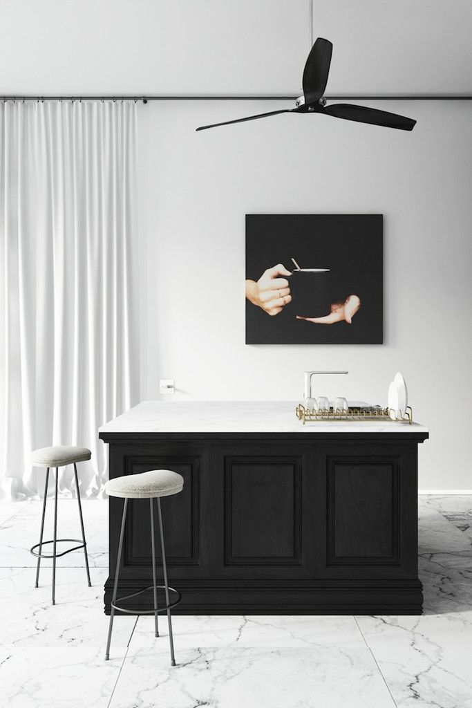 Kitchen in black and marble – Greige Design