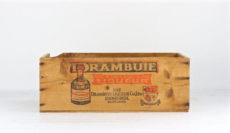 Vintage Drambuie Liquor Crate Vintage Wooden Crate XXL Wood Crate Drambuie Crate Wooden Box Liquor Wood Crate Alcohol Wood Crate Industrial by HuntandFound on Etsy