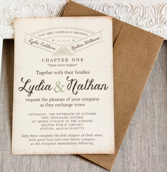 Vintage Story Book Wedding Invitation -literary Wedding