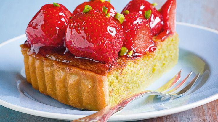Jordbærtærte med pistaciemasse - Meyers