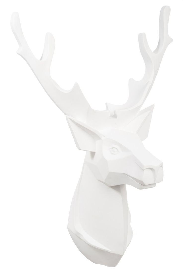 troph e mural t te de cerf coloris blanc 64 cm deco tete de cerf parement mural et cerf blanc. Black Bedroom Furniture Sets. Home Design Ideas