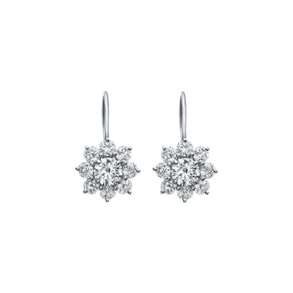 Sunflower by Harry Winston, Diamond Earrings on Platinum Wire ❤ liked on Polyvore featuring jewelry, earrings, earring jewelry, round earrings, wire earrings, platinum earrings and platinum diamond earrings