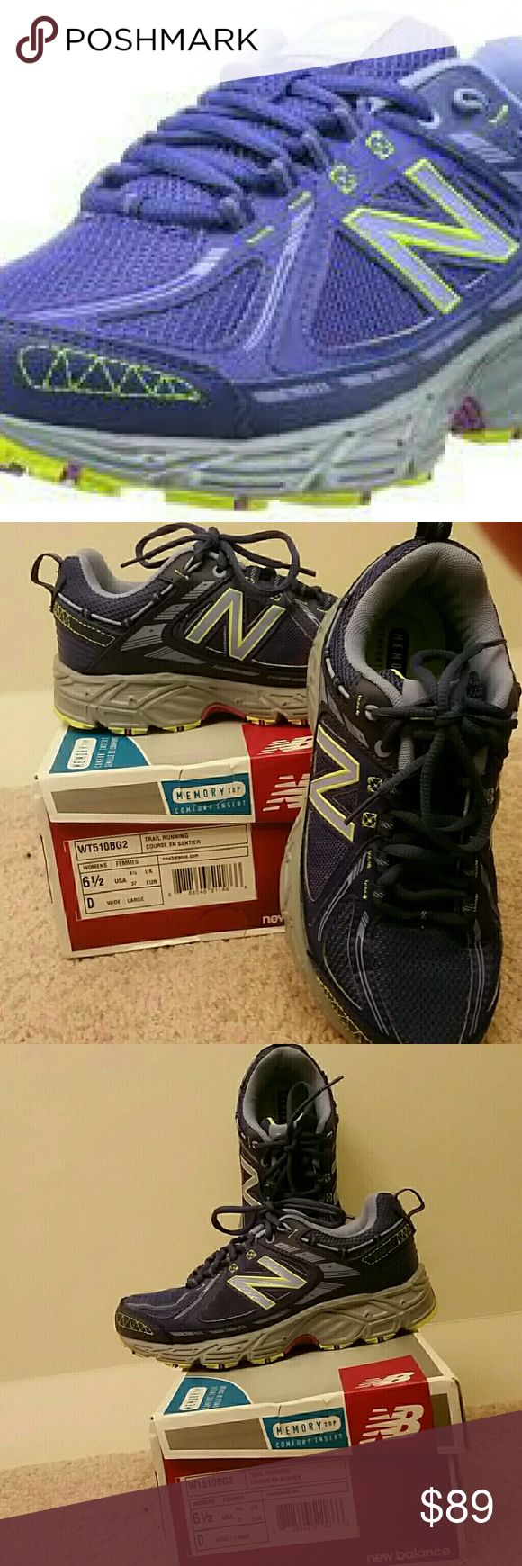 New balance sneakers 510v2 size 6.5 Wide NIB Purple New Balance trail running sneakers with yellow piping. Awesome shoes. Worn for about 5 minutes because my feet are challenging and I waited too long to return. This size and color are out of stock everywhere.  Size 6 1/2 WIDE. New in box only tried on on carpet. New Balance Shoes Sneakers
