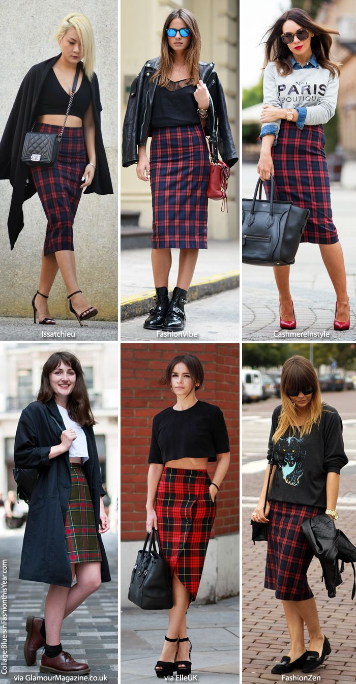 Inspiration: Tartan Pencil Skirts (Blue is in Fashion this Year)
