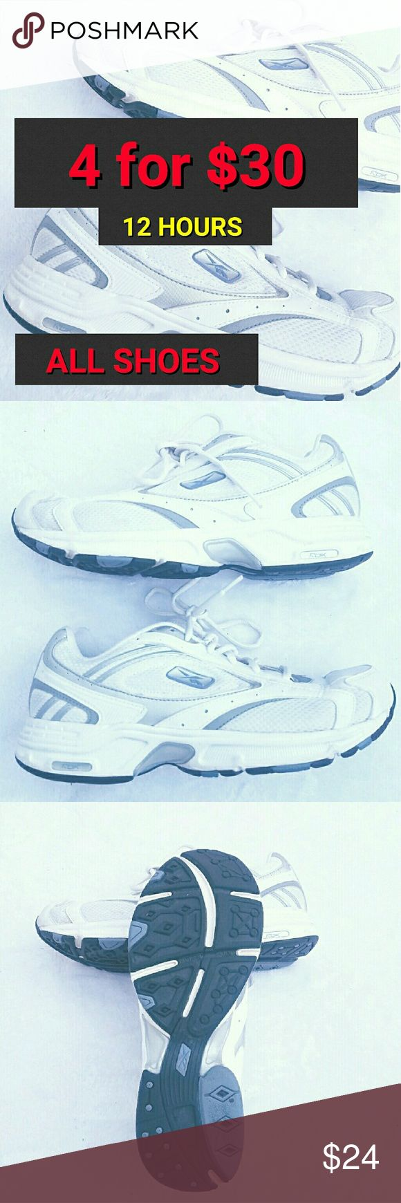 Reebok Women's Tennis Shoes White Sneakers Size 10 Reebok Women's Tennis Shoes White Gray Size 10  HUGE sale 4 more HOURS LEFT Reebok Shoes Sneakers