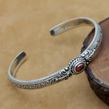 925 pulseira de Prata Esterlina jóias de prata Tailandês do vintage feitos à mão das mulheres dos homens de tendências de moda rubi do vintage prata Thai pulseiras(China (Mainland))