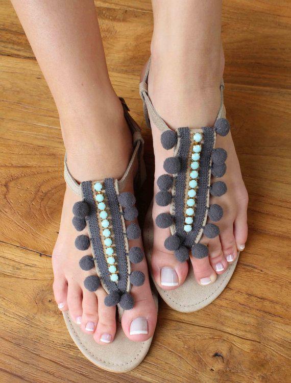 Pom Pom Swarovski Leather Sandals. Aqua and by lizaslittlethings, $68.00 ORDERING