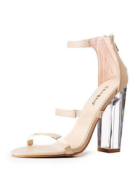 51146a6e178 Bamboo Clear Block Heel Sandals | FUTURE WALK-IN | Clear block heels ...