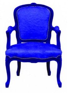 Wow! Talk about an accent chair! Royal Blue chair with Electric Blue upholstery.
