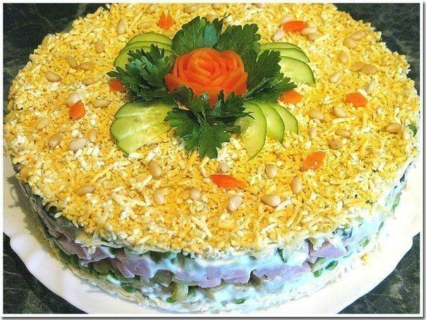«Puff salad with avocado and ham».