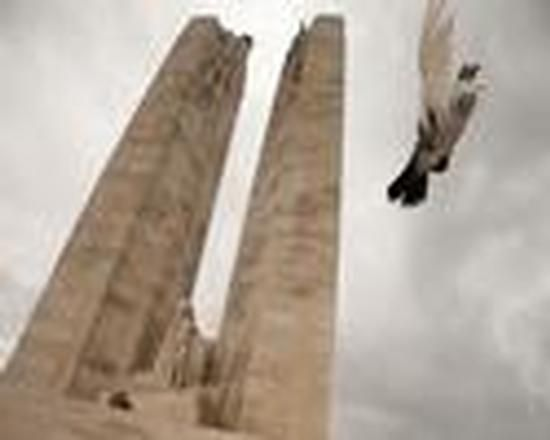 A dove flies in front of the Canadian National Vimy Memorial, during the Ceremony of Remembrance on the occasion of the 95th anniversary of the Battle of Vimy Ridge, in France.