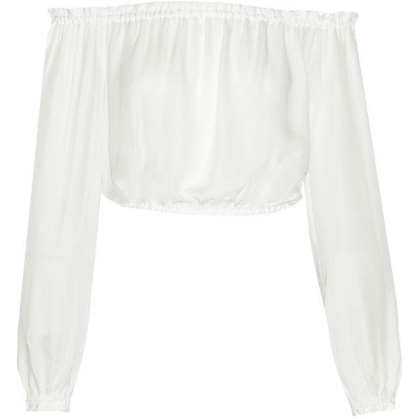 Elizabeth and James Denny cropped off-the-shoulder silk-voile top (£110) ❤ liked on Polyvore featuring tops, crop tops, shirts, blouses, ivory, white crop top, white off the shoulder top, white shirt, silk crop top and loose white shirt