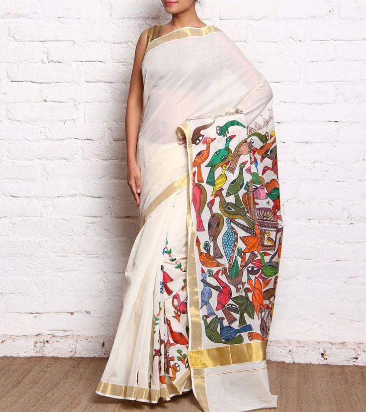 Off White Hand Painted Kerela Cotton Saree