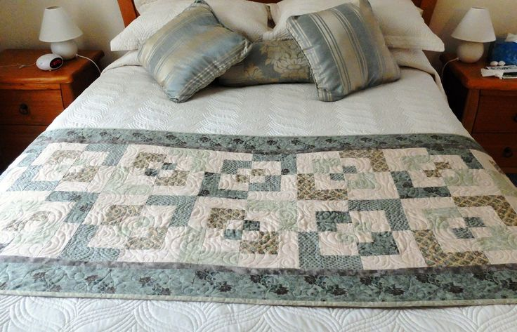 Patchwork quilted light olive and sage green and cream bed runner, Queen bed runner, modern bedroom decor - pinned by pin4etsy.com