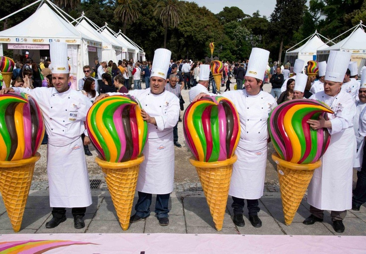 The four gelato makers qualifying  for a place in the Gelato World Tour  grand final in Rimini in September  2014. From left, Emanuele  Montana (third); the winner  Francesco Mastroianni; Mario  Serani (technical jury prize) and  Giuseppe Lancierini (second).