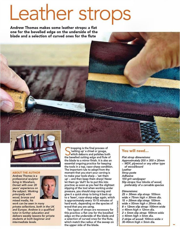 Leather strops sharpening wood carving