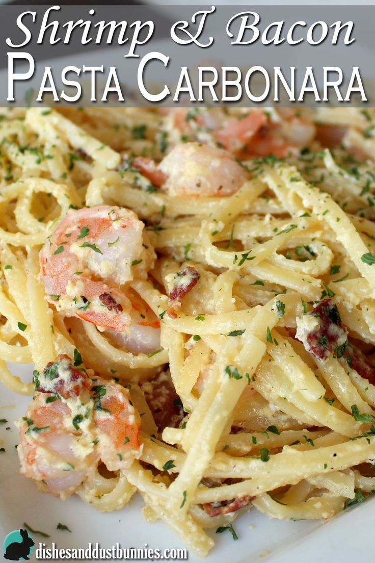 You'll really enjoy this easy shrimp and bacon pasta carbonara recipe! It only takes less than 30 minutes to make!