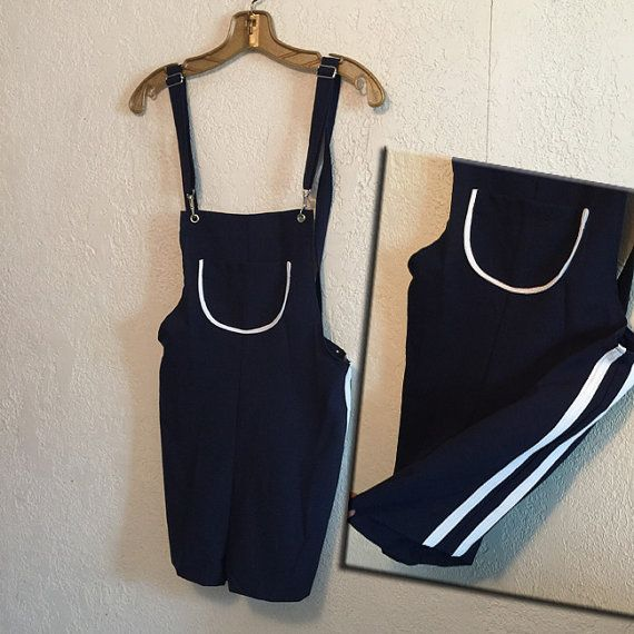 1990s Shorts Jumper ~ Navy Blue with White Racing Stripes . Overalls, Romper, Jumpsuit by kitschbitchvintage