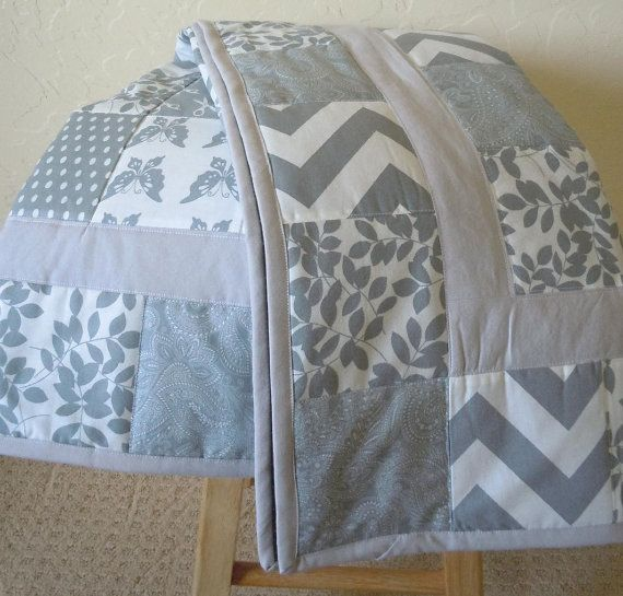 light gray quilt
