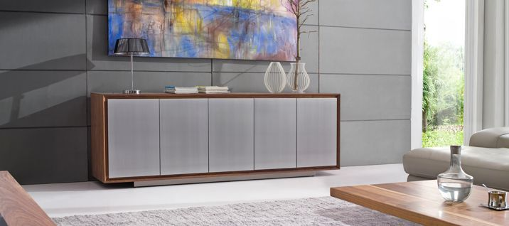 SCB3289 American Walnut Buffet. The drawers feature soft close full extension runners; giving you maximum amount of storage plus a great soft close experience.