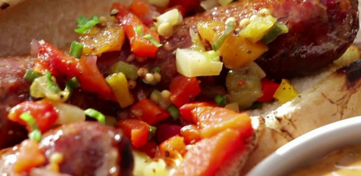 Smoked Sausage with BBQ Remoulade and Green Tomato Chowchow Relish By Bobby Flay