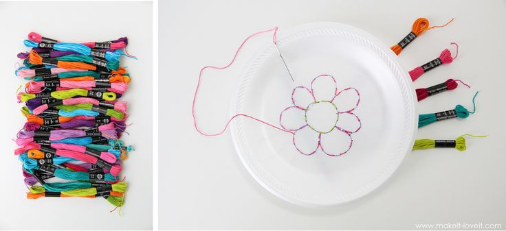 Teaching kids to sew. Intro to hand sewing. Styrofoam plate, embroidery floss, tapestry needle. 5 to 7 years.