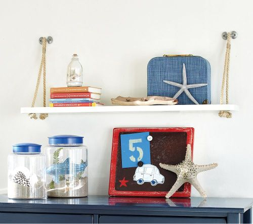 "Dulux Designer Poala Thomas recommends:  ""Use unusual storage spaces your child can display items collected from holiday."""