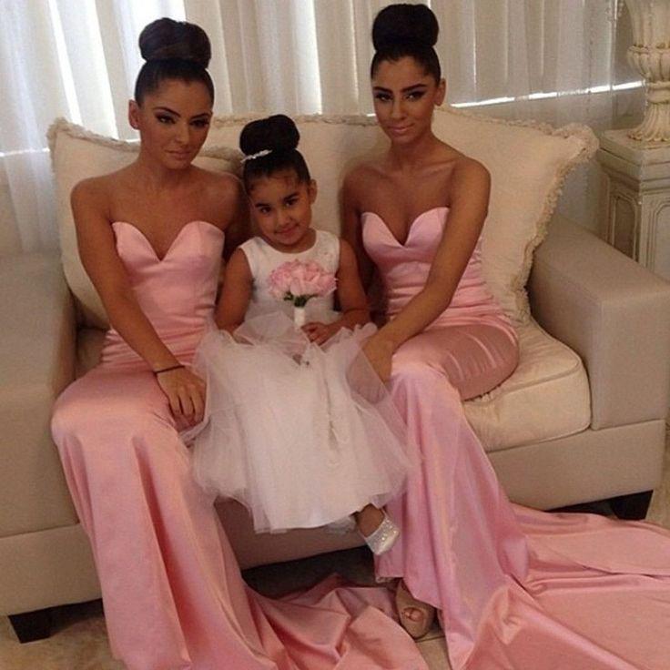 Lange Brautjungfernkleider Pink Herz Meerjungfrau Satin Kleider Für Brautjungfern