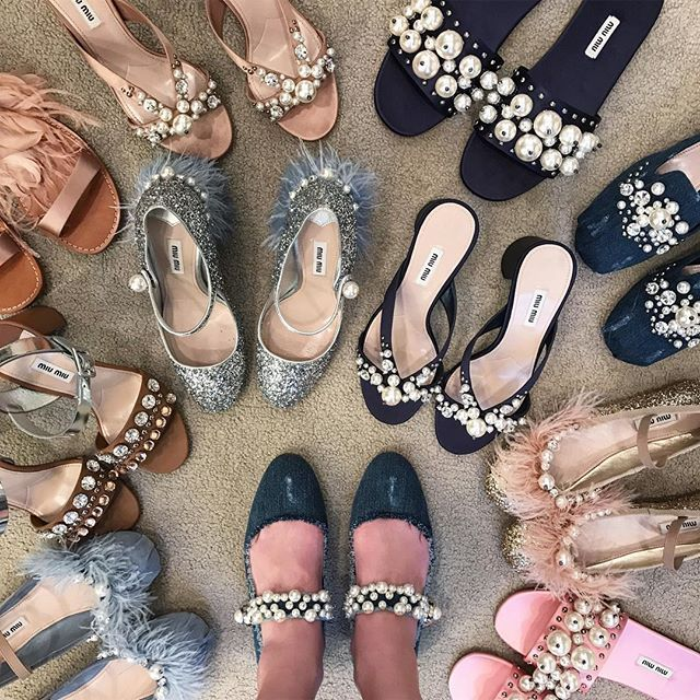 Pearls, feathers and denim: the dream @miumiu shoe closet. Shop now on 2.