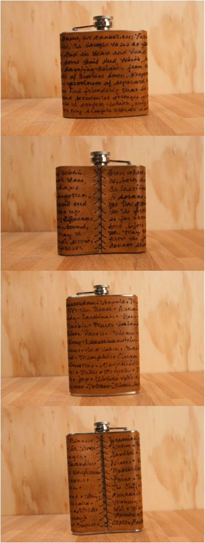 This personalized flask comes with an inscription of your choice, up to 600 characters (including spaces). This makes a wonderful gift for an anniversary (leather is the third anniversary gift), wedding, or bridesmaids/groomsmen. | Made on Hatch.co