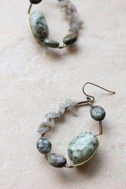 natural stone hoop earring