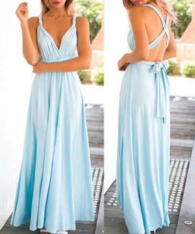 Sexy Sleeveless Self Tie Design Solid Color Convertible Women's Dress Maxi Dresses | RoseGal.com Mobile