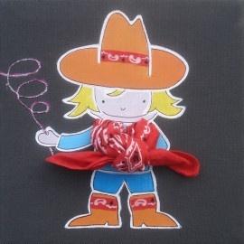 Kinderschilderij Cowboy. Dit vrolijke en kleurrijke schilderij is leuk als decoratie voor de kinderkamer.