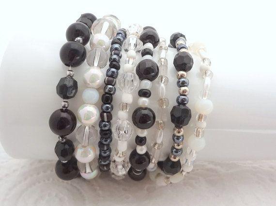 Boho Bracelet Set of 8 - White and Black - beaded stretch bracelets - handmade in New Zealand #2
