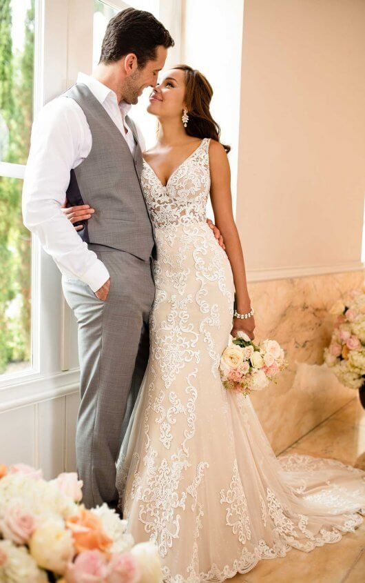 Lace Wedding Dress with Sheer Cutouts
