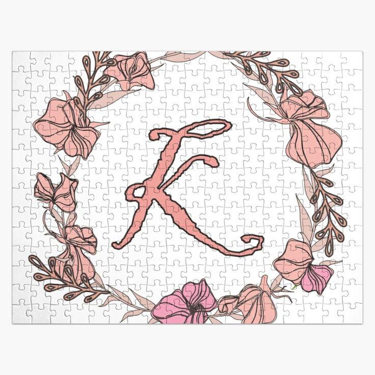 'Letter K Rose Pink Initial Monogram Letter k' Jigsaw