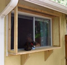 ♥ DIY Cat Stuff ♥  a small enclosure can be built covering a window to let your cats enjoy the fresh air and experience all the sights and sounds of your yard in safety