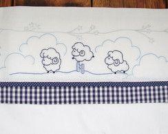 Jogo de lençol de berço Bordado-Ovelhas