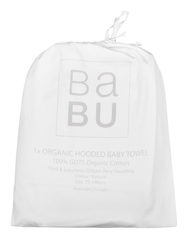 This thick and thirsty baby hooded towel will be a welcome addition to your bathing routine. Babies lose so much heat from their head after bathing, so keep them toasty warm with this 550gsm towel.  In GOTS organic cotton, you just can't go wrong, especially with a price like this!