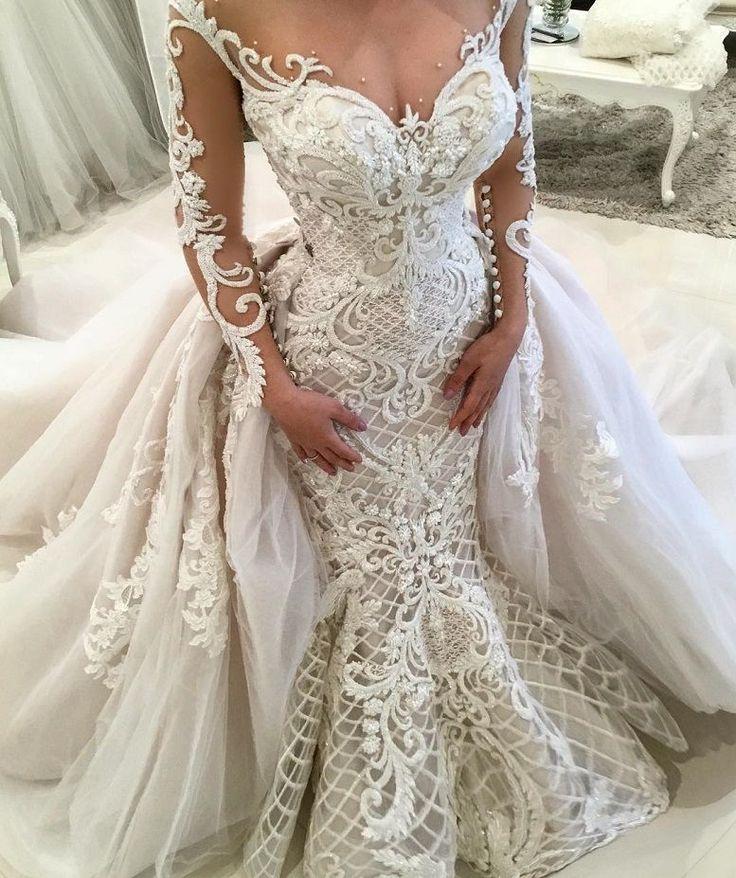 Décolleté en coeur manches longues embellissement lourd robe de mariée sirène #wedd …
