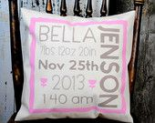 Welcome baby Girl pillow cover! Baby shower gift, Personalized pillow, Baby pillow, Child's name pillow, Newborn pillow, Christening gift.