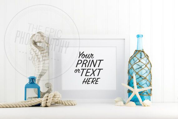 Styled Stock Photography / Beach, Shells, Ocean, Blue, Star Fish, Rope, Lantern, Nautical / Blank Frame / Empty Frame / BN002