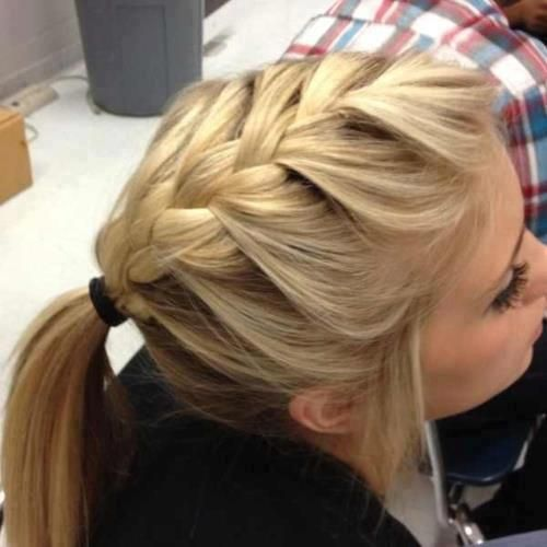 French braid into a pony.