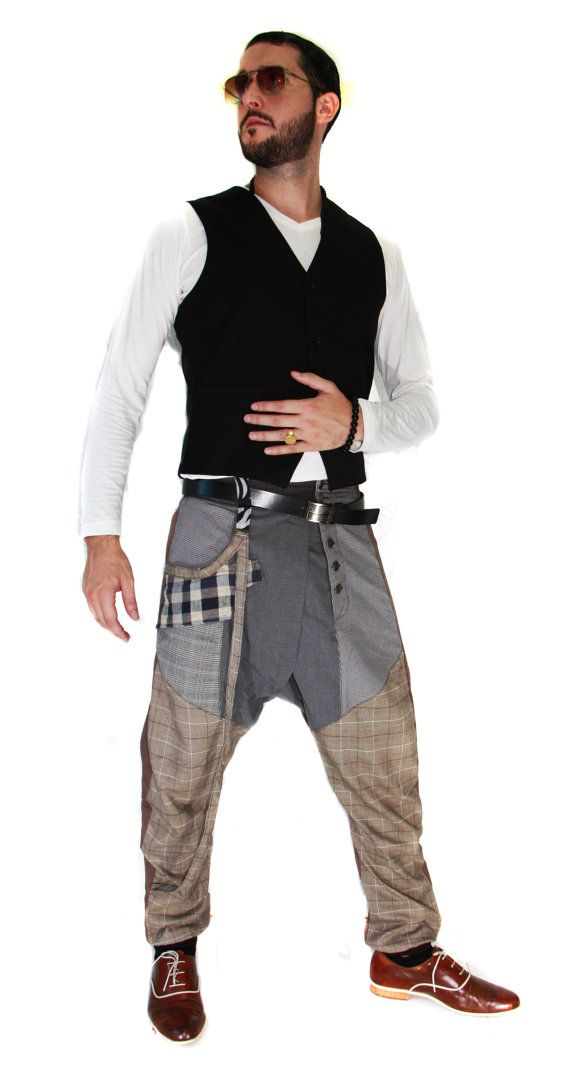 harem pants for men shabby chic four seasons brown by Bestprices22, ฿2800.00