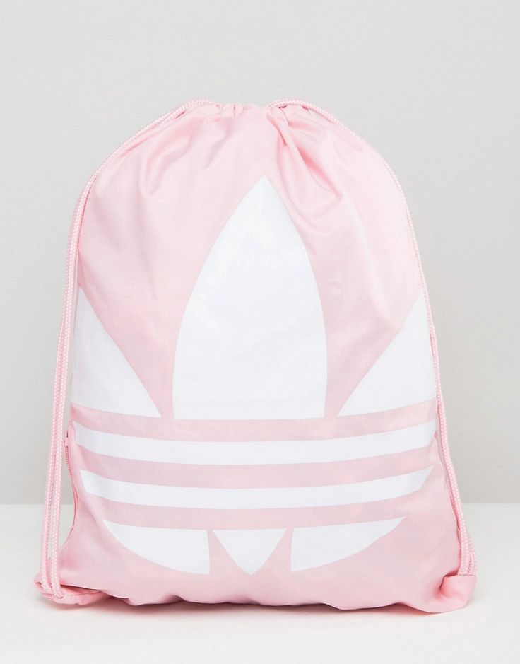 Pink Adidas Originals Trefoil Drawstring Backpack - cute gym bag