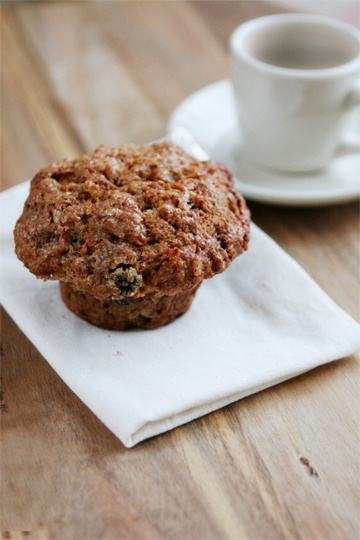 Morning Glory Muffin recipe from Macrina Bakery in Seattle. I made these and they turned out wonderfully. Recipe said to bake 40 minutes, but mine were done at 30.
